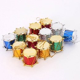 Wholesale Product Trees - 12 pcs Mixed Color Mini Drum Christmas Decoration for Home Christmas Tree Hanging Decor Xmas Products
