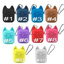 Fundas para iphone bulldogs online-Funda de silicona bulldog para Apple Airpods Auricular Cubierta de caramelo linda Protector de Color caramelo con bolsa de gancho para Air Pods