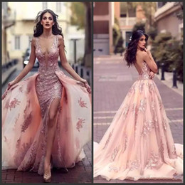 Wholesale Detachable Mermaid Dresses - New Sexy Deep V-neck Arabic Mermaid Evening Dresses With Overskirts Lace Appliques Side Split Backless Prom Dress Tulle Red Carpet Gowns