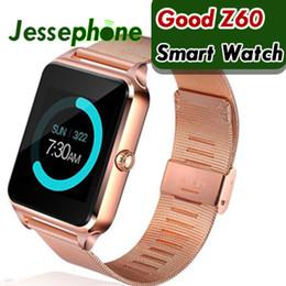 apro reloj inteligente Rebajas Bluetooth Smart Watch Phone Z60 Soporte de acero inoxidable Tarjeta SIM TF Cámara Rastreador de ejercicios GT08 GT09 DZ09 A1 V8 Smartwatch para IOS Android