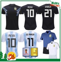 Wholesale Manning S - 2018 World Cup Argentina away Jersey Argentina MESSI DYBALA DI MARIA AGUERO HIGUAIN soccer shirt home national team POLO Football jersey