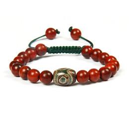 Wholesale green wooden beads - New Design Summer Jewelry Wholesale 10pcs lot 8mm Natural Red & Green Wooden Beads Tibetan Dzi Eye Yoga Meditation Ethnic Macrame Bracelet