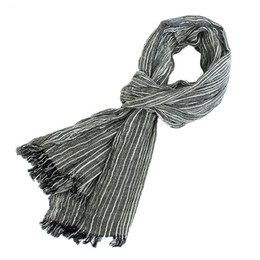 Wholesale gray plaid scarf - 75*205cm 2016 Wholesale Brand Winter Scarf Men Warm Soft Tassel Bufandas Cachecol Gray Plaid Woven Wrinkled Cotton Men Scarves