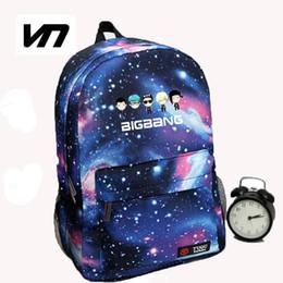 Wholesale Japan School Bags - Wholesale- Korean New Galaxy Printing Backpack For Women BTS Backpack GOT7 Bigbang Waterproof Nylon Men's Backpack School Bag For Teena