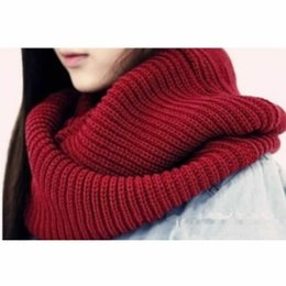 Wholesale Cowl Neck Men - New Arrive Men Women's Nice Winter Warm Infinity 2Circle Cable Knit Cowl Neck Long Scarf Shawl
