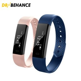 Wholesale Monitor Alarms - 2018 ID115 Bluetooth Smart Bracelet Fitness Tracker Step Counter Activity Monitor Alarm Clock Vibration Wristband for iphone Android phone