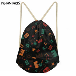 25037218cbeb INSTANTARTS Music Pattern String Backpack Women Men Daily Small Drawstring  Bag for Girls Boy Travel Shoes Storage Bag Cinch Sack