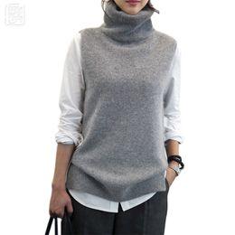 Wholesale vest turtleneck - Women's Knitted Angora Cashmere Turtleneck Vest Back Slit Winter Female Wool Swaeter Sleeveless 2018 Spring New Black Grey Vogue