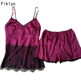 lencería de satén para niñas Rebajas Fiklyc Brand Female Lace Pyjamas Conjuntos Satin Silk Nightwear para mujeres Young Girls Lencería Set Two-Pices Pijamas Set Home Wear