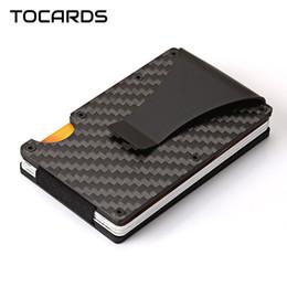 tarjeta de crédito billetera de aluminio Rebajas 2018 Aleación Thin ID Holder Male Aluminum Fibra de Carbono Caja de Tarjeta Delgada Cartera Monedero con Money Dollar Clip para Hombres