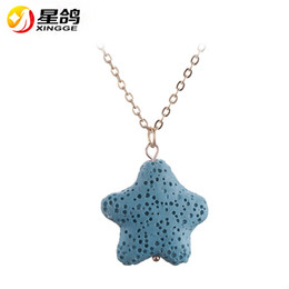 Wholesale Handmade Stone Pendants - New Design Handmade Volcanic Stone Pendant Necklaces gold Plated Best Gift multi star heart shape necklace For Women Fashion jewelry