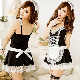 Wholesale sexy maid servant - Sexy Maid Servant V-Neck Dress + Headband + Panties 3 Pieces Cosplay Sleepwear