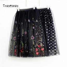 2018 Fashion Midi Mesh Tulle Skirts Womens Vintage Pleated Floral  Embroidery Elegant Party Skirt faldas saia jupe D1891802 f2b08324f