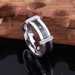 Wholesale White Gold Ring Mens - Fashion Charm Elegant Wedding Bands,Titanium Steel Ring Wedding Mens Cubic Zirconia Stainless Steel Ring for Men Jewelry