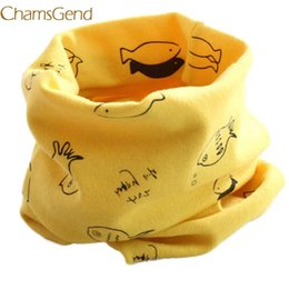 Wholesale Fishing Scarves - Chamsgend Newly Design Cute Fish Pattern Scarf Kids Boys Girls Autumn Winter Cotton Blends O Ring Neck Wrap Scarves 160803