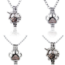 Wholesale Chains For Lockets - 2018 Horse Necklace antique Silver Horse cat footprint pendant Unicorn Pendant Lockets pearl chain Fashion Jewelry for Women 162661
