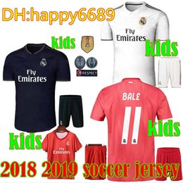 a7aad49ab06 2018 2019 Real Madrid Kids soccer jersey 18 19 RED THIRD BENZEMA ISCO BALE  SERGIO RAMOS MORATA ASENSIO MODRIC football shirt