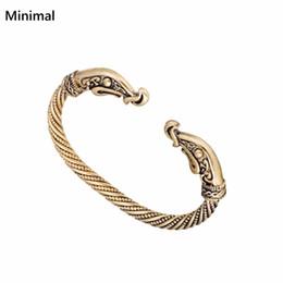 Wholesale Dragon Bracelet Women - whole saleMinimal 2017 Screw Nail Bangle Punk Gothic Charm Knot Viking Bracelet Gold-color Dragon Bracelets & Bangles for Man Woman Gifts