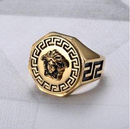 Wholesale Hip Hop Heads - Hip hop Medusa Ring Jewelry 24k Gold Plated Head Finger Rings for men women Size 7,8,9,10,11,12