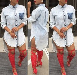 casual short sundresses Promo Codes - Casual Womens Denim Jeans Long Sleeve Loose Blouse Shirt Tops Party Club Mini Short Sundress Clubwear Jeanswear Outfits Clothes