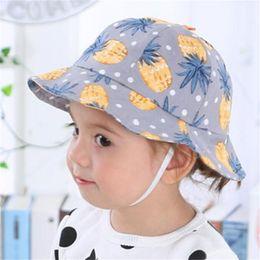 Wholesale fishing visor hats - Baby cartoon printing bucket hat infants Dots Balloons Pineapple colorful print sunhats spring summer kids cute fish hat Sun Hat 7colors B11