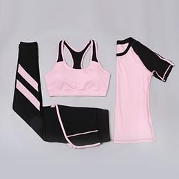 Camisa de profissão on-line-3 PCS Profissão Yoga Set Compressão Esporte Terno Das Mulheres de Ginástica Roupas Sports Bra Running Shirt Calças de Treinamento Conjunto de Fitness