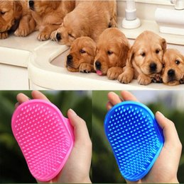 Wholesale Comb Rake Blade - Dog Cat Bath Brush Dogs Hair Shedding Trimming Brushes Pet Comb Rubber Glove Fur Grooming Massage Device PINK Blue Red Optional YW1198
