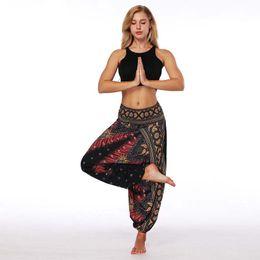 Wholesale legging spandex high waist - Women Lantern Yoga Pants Ethnic style Wide leg pants Elastic Dancing Loose Fit High Waist Beach Trousers Free Shipping