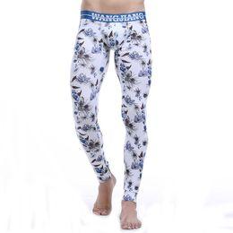 e5cafbe4a01506 Winter Men Thermal Underwear Cotton Long John Tight Pants WANGJIANG Brand  Sexy Pouch Man Warm Leggings Low Waist Sleep Bottom