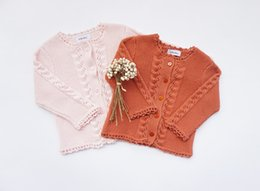 Wholesale Crochet Baby Sweaters - Baby girls knited sweater cardigan little girls hollow crochet single breasted outwear 2018 spring new children long sleeve tops R2088