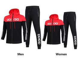Wholesale Ad Fashion - AD Brand Men and women hooded and pant Tracksuits 3 Colors Size L-4XL long sleeved Lover's sportswear fashion leisure suit Spring and autumn