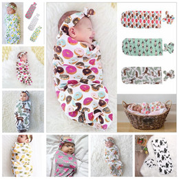 Wholesale baby home portable - 9 Colors Infant Floral Cotton Swaddle Blanket 2 Piece Set Sleeping Bags Muslin Wrap+Headband Newborn Baby Pajamas Hairband AAA482
