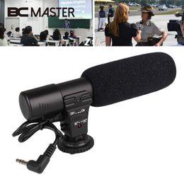 Videocámara de micrófono online-BCMaster Portable Wired Pro Video Shotgun Micrófono de grabación estéreo Micrófono para cámara de videocámara DSLR 3.5mm Jack