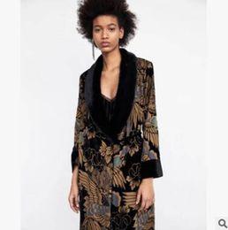 Kimono de terciopelo online-Chaqueta de kimono de terciopelo 2018 primavera de las mujeres de Europa y los Estados Unidos Patrón de manga larga de estilo informal Impreso ropa de mujer larga
