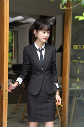 Wholesale Skirts For Work - Fashion Striped Formal Uniform Designs Skirt Suits With Jackets And Skirt For Women Work Wear Professional Female Blazers Sets