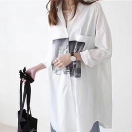 2019 eleganti camicette di cotone CT891 Primavera 2018 New Cotton Long  White Shirt Donna Fashion Character f339818c336