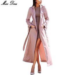 Wholesale modern woman coats - 2017 new fashion Pink Long Sleeve Notched Sashes Bow Chic Modern Women Long Duster Coat & jacket lady windbreaker party wear