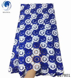 nigerian guipure lace dresses Promo Codes - Double color african cord lace fabrics high quality for women dress 2018 latest guipure lace fabric with beads nigerian PG178