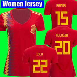 Thaïlande camisetas de fut ASENSIO MORATA Femmes Espagne maillots de football coupe du monde 2018 RAMOS INIESTA maillot de football Camisa fille dames ? partir de fabricateur