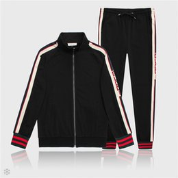 veste chemise homme xl Promotion Designer Jacket Hommes Vestes et Pantalons Sport Sweat-shirt De Marque De Mode Survêtement Casual Automne Hommes Zipper Veste et Long Pantalon M-3XL