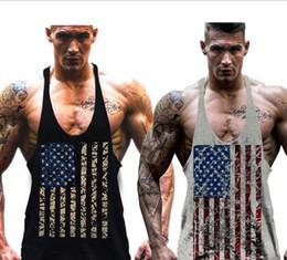Wholesale mens gym vest wholesale - Mens Fitness Gym Sports Tanl Tops Cotton Vest Strap Muscle Men Tops American Flag Printing T-shirt