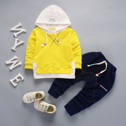 Wholesale Boys 24 Months Jeans - Kids Boutique Clothing New Long-Sleeved Two-Piece Letters Hoodies + Fashion Jeans Set Girl Boy Luxury Brand Tracksuit