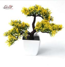 Alberi di bonsai artificiali fioriti online-Pini vwelcoming Artificial Flower Tree Artificial Plant Bonsai piante verdi per decorativi interni ufficio