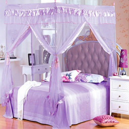 Re net online-4 Corner Post Bed baldacchino principessa zanzariera doppia completa matrimoniale King Size elegante tenda da letto (senza staffa)