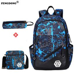 Oxford crianças escola mochilas on-line-FengDong Mochila Masculina para Adolescentes Menino Sacos De Escola Crianças Saco de Projeto À Prova D 'Água Saco de Carga Mochila Oxford Mochila Portátil USB