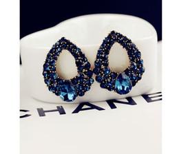Wholesale Earing Steel - Fashion Brincos Perlas New Girls Earing Bijoux Blue Zircon Stud Earrings For Women Wedding Jewelry Earings One Direction