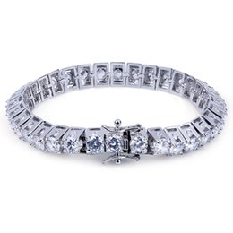 Wholesale 14k Curb Chain - Mens Bracelet for 2018 fashion jewelry Hip hop CZ Bling Jewelry Gold Silver Color Miami Curb Cuban Chain Iced Out Rhinestones