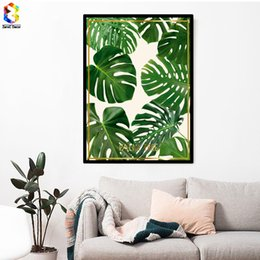 Wholesale Palms Pictures - Nordic Fresh Palm Posters and Prints Wall Art Canvas Painting Pictures For Living Room Scandinavian Plant Leaf Home Decor