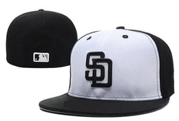 team visors Coupons - Hot Cool Men's Padres fitted hat gray top black visor flat Brim embroiered SD letter team logo fans baseball Hat padres full closed Chapeu