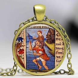 Wholesale handmade baby jewelry - Handmade Glass Cabochon Pendant St Christopher and Baby Jesus Necklace Patron Saint of Travelers Retro Gift Bronze Chain Jewelry